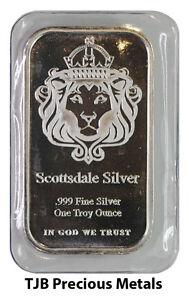 1oz (Troy) Scottsdale Mint Silver Bar 999.0 Fine Silver 'The One' design