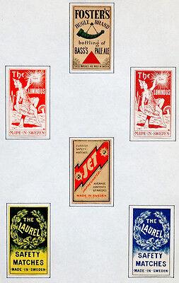 ANTIQUE Vintage MATCH BOX LABEL Lot FOSTERS BASS ALE Luminous & More SWEDEN #061