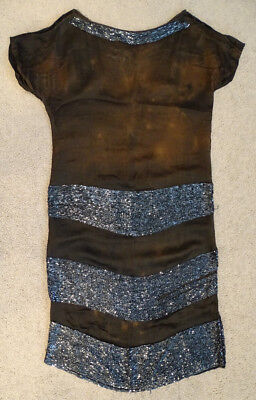 ANTIQUE Vintage 1920's HIGH FASHION Flapper ART DECO Silk Dress / 2# BUGLE BEADS