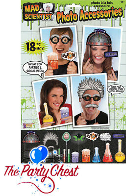 18 MAD SCIENTIST PARTY PHOTO BOOTH PROPS Halloween Party Selfie Photo Props 1055 - Mad Scientist Halloween Party Decorations