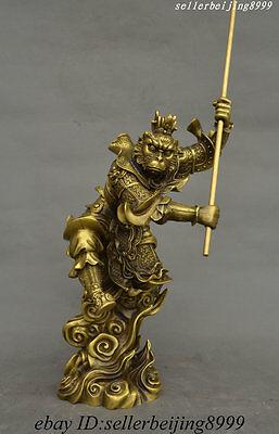 """16"""" Chinese Buddhism Pure Bronze Monkey King Sun Wukong Buddha Monkey God Statue"""