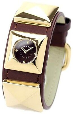 MARC JACOBS MBM8572 LADIES GOLD STUDDED CUFF BANGLE BROWN LEATHER BRACELET WATCH