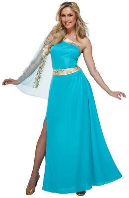 Römisch / Griechische Göttin Kostüm 2 Teile Blau & Gold Kleid mit / - Weibliche Römischen Kostüm