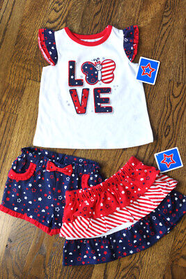Cute Baby Themes (NEW! BABY GIRL 3 pc Outfit, Shorts, Skirt & Tee, 3-6 Months, Cute 'LOVE')