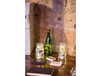 Glass bottles and jars with micro lights - £50 ovno