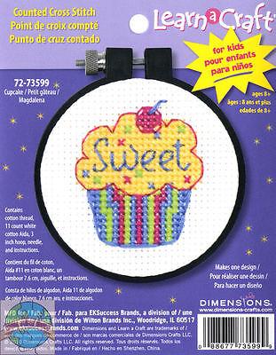 Cross Stitch Mini Kit ~ Dimensions Sweet Cupcake Kids Learn a Craft (Kids Mini Cupcake Kit)