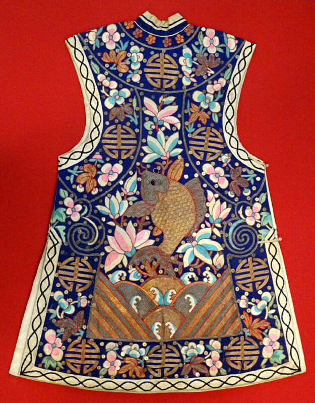 19th Cent. ANTIQUE Qing Dynasty CHINESE Embroidered SILK WAISTCOAT Vest Robe