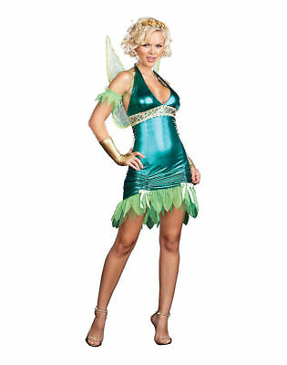 Sexy Green Fairy Womens Adult Halloween Costume Tinkerbell Fairytale Party Small