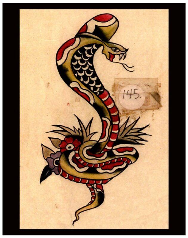 pro print bob shaw vintage 50s tattoo flash badass cobra snake pike grimm 11x14