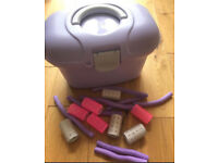 C vanity case with hair rollers
