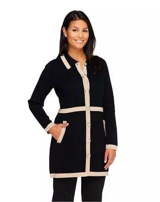 Beautiful! Liz Claiborne New York Sweater Coat with Contrast Trim, Black/Tan, XS
