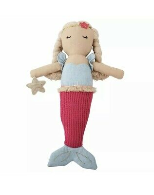 New Mud Pie Girl Hot Pink Tail Linen Mermaid Doll Toy Sealed Original Shell
