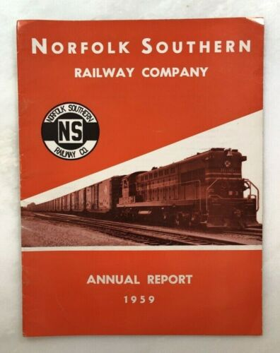 1959 NORFOLK SOUTHERN RAILWAY Co Railroad ANNUAL REPORT Vintage