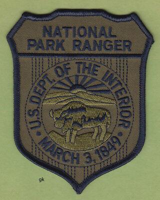 US NATIONAL PARK RANGER DEPARTMENT INTERIOR SHOULDER PATCH  (Subdued  / green)