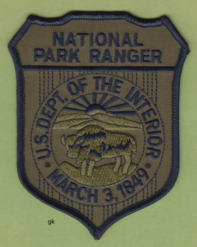 US NATIONAL PARK RANGER DEPARTMENT INTERIOR SHOULDER PATCH  (Subdued  / green)