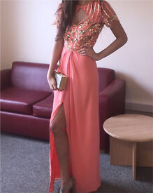 Beautiful peach pink prom dress, with thigh high slit, worn once, beaded