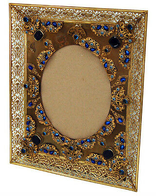 Spectacular Antique Bronze Jeweled Picture Frame #6068