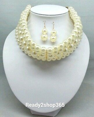 Multi 5 Row Layer Faux Pearl Wide Necklace Stacked Collar Choker Beaded Strand  ()