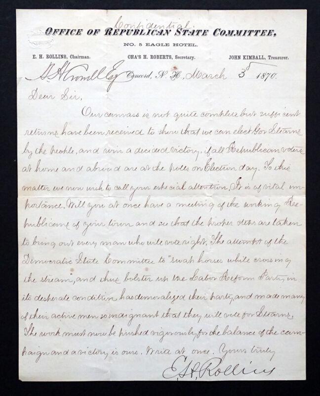 SENATOR EDWARD ROLLINS Signed AUTOGRAPH Letter BOSTON CONCORD MONTREAL RAILROAD