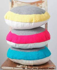 Crocheted Cushions - Yellow, Blue or Pink with Grey - Brand New South Coogee Eastern Suburbs Preview