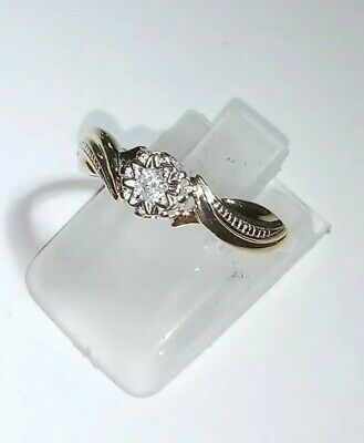 9ct Gold 375 Hallmarked Diamond Ring Size N