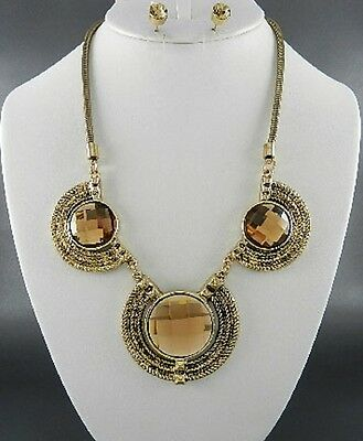 Topaz Brown Facted Circle Glass Stud Burnish Gold Tone Necklace Earring Set Brown Stud Necklace