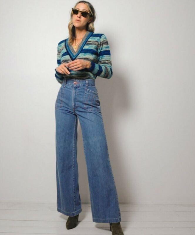 "Vintage 70s ultra high waisted flare bellbottom denim jeans 25"" 25x32"