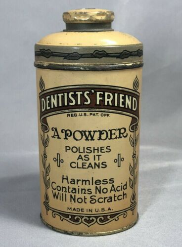 FULL Antique DENTISTS FRIEND TOOTH POWDER TIN Dental Teeth SAN FRANCISCO CA Talc