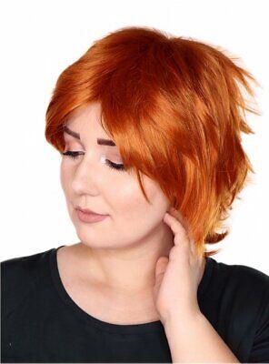 Prettyland Orange kupfer-Rot glatt Kurz-Haar Stufen Pixie Theater Perücke C178