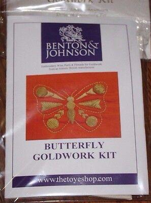 Benton & Johnson - Butterfly Goldwork Kit - New/contains metal threads/felt