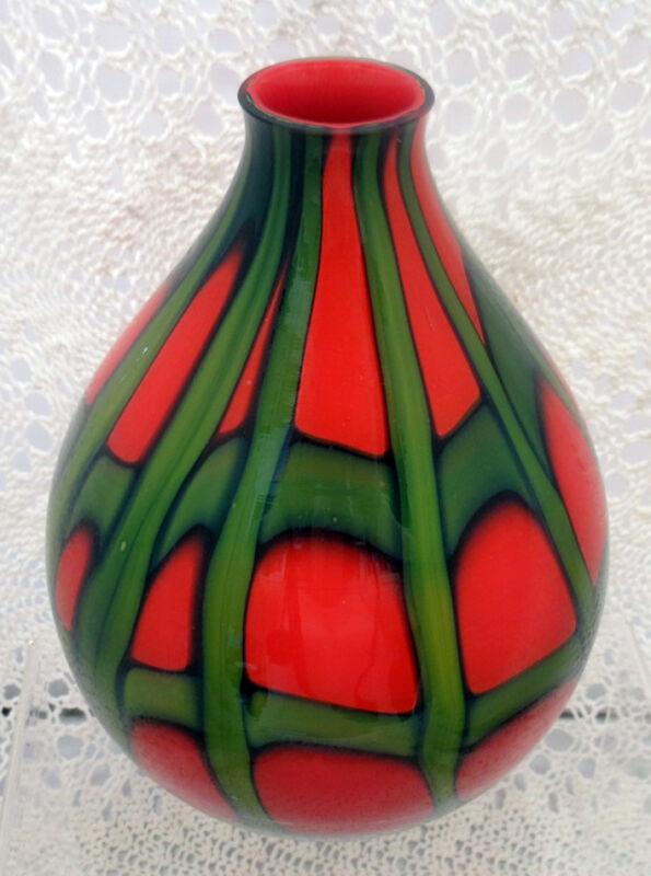 BEAUTIFUL ART DECO KRALIK CZECH TANGO PATTERN BALL SHAPED ART GLASS VASE 1920