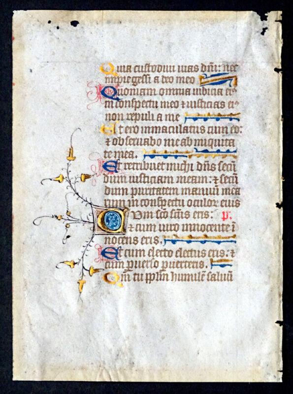 15thC ANTIQUE Vellum Painting ILLUMINATED MANUSCRIPT PSALTER Calligraphy / Roten