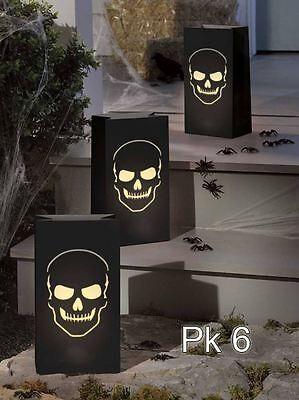 6 BONEYARD SKULL LUMINARY BAGS Halloween Candle Tea Light Bags Decorations 70331 - Halloween Paper Luminaries