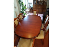 Cherry wood extending dining room table and six chairs - excellent condition