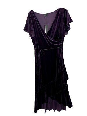 Lucy Paris Vestido Mujer Púrpura Grande / Plum Surplice Bridas Abrazaderas Suave