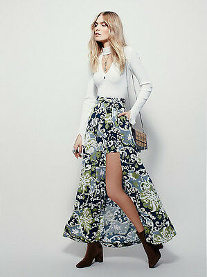 NEW FREE PEOPLE $148 CHARCOAL COMBO YOUNG THING MAXI MINI WRAP SKIRT SZ 2