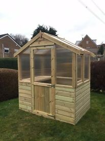 4x6 Strong *New* Wooden Greenhouse with glazing - 10 year anti rot. 4FT x 6FT