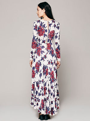 Nwt Free People S First Kiss Maxi Dress Cream Red Purple Storm Skirt Gown