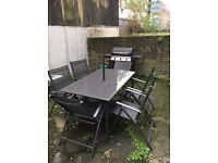Outdoor Table + 6 Chairs (with umbrella)