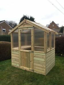 4x6 Wooden Greenhouse (Pressure Treated) Timber  With Twin Wall Glazing 6FT Wide