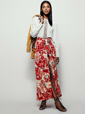 NEW FREE PEOPLE $148 PERSIMMON COMBO YOUNG THING MAXI MINI WRAP SKIRT SZ 0