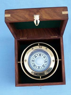"5"" Antique Brass Gimbal Compass w/ Rosewood Box"