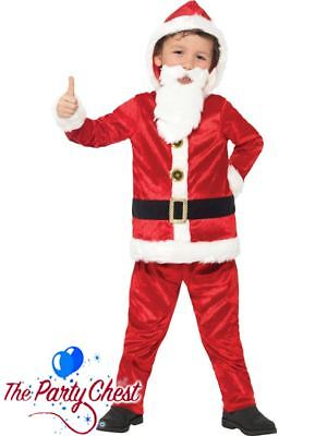 BOYS JOLLY SANTA COSTUME WITH PADDED BELLY Childrens Father Christmas Outfit](Santa Costume Boys)