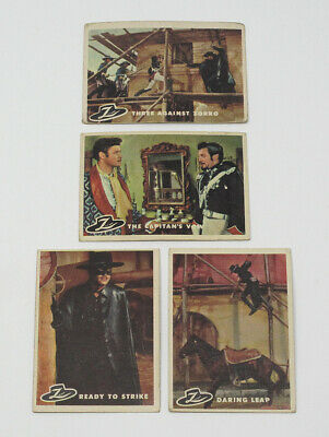 Lot of 4 1958 Topps Zorro Vintage Trading Cards - VG to EX