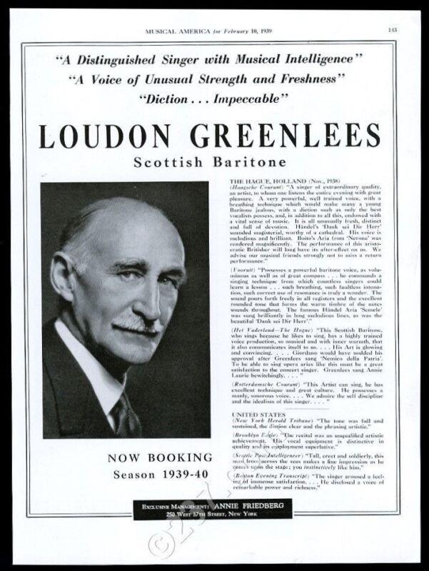 1939 Loudon Greenlees photo USA recital tour trade booking ad