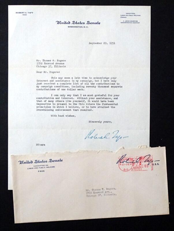 1951 Vintage US SENATOR ROBERT A TAFT Original SIGNED AUTOGRAPH Letter / OHIO