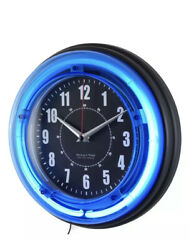 11 Wall Clock Analog Vibrant Blue Electric Neon Home Decorative Design New