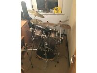Tama superstar fusion drum kit. Includes 3 crash symbols, stool and music stand