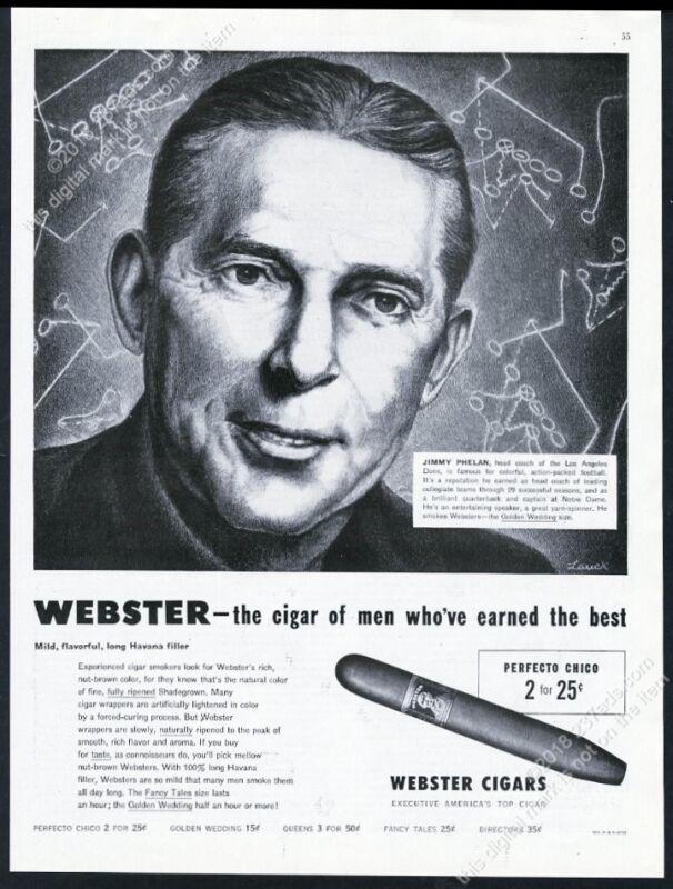 1949 Los Angeles Dons football coach Jimmy Phelan Webster cigar vintage print ad