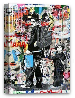 Mr Brainwash Street Art Canvas Charlie Chaplin Graffiti Wall (Mr Brainwash Graffiti)